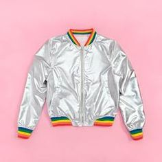 you can't hide your greatness when you throw on this outrageously cool lightweight bomber jacket. it's like…only the perfect mix of retro and futuristic. that silver and rainbow combo? puh-lease! wear it everywhere and you'll feel like you won the compliment lottery.