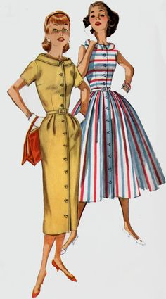 1950s Coat Dress Simplicity 2111 Stand Away collar with Slim or Full Skirt Vintage 60s Mod Sewing Pattern Size 12 Bust 32 by sandritocat on Etsy