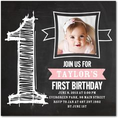 CHALKY ONE: BLOOMBIRTHDAY PARTY INVITATIONS