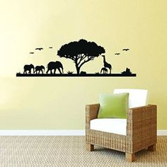 Wall Decals Safari Decal African Safari Tree Animals Africa Kids Children Nursery Baby Room Wall Vinyl Decal Stickers Bedroom Murals