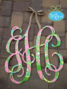 Yay Monogram! Obsessed with the new chin chin lilly pulitzer print! so perfect for a cute nursery or dorm room!