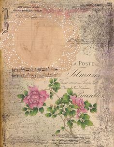 Junk Journal, Journal Cards, Vintage Roses, Vintage Ephemera, Vintage Paper, Rice Paper Decoupage, Wood Cutouts, Book Projects, Printable Paper
