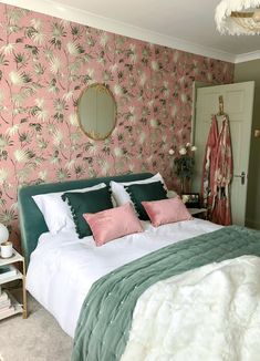 Our Decadent, Elegant Art Deco Inspired Bedroom Makeover - The Reveal! - A Goodbye - The Interior Editor Art Deco Bedroom, Home Decor Bedroom, Bedroom Decor Wallpaper, Bedroom Modern, Bedroom Designs, Bedroom Ideas, Master Bedroom, Botanical Bedroom, Botanical Decor