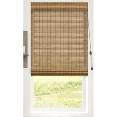 Bay Isle Home Textured Semi-Sheer Roman Shade Blind Size: x Color: Squirrel Door Shades, Shades Blinds, Little Houses On Wheels, Woven Blinds, Bamboo Roman Shades, Best Blinds, Bamboo Texture, Blinds For Windows, Window Blinds