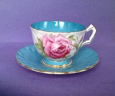 A personal favorite from my Etsy shop https://www.etsy.com/ca/listing/498337392/aynsley-cabbage-rose-turquoise-band