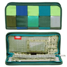 Clutch Wallet - Mixed Greens. Belt Colors: Emerald, Apple, Cobalt, Forest, Olive, Grey
