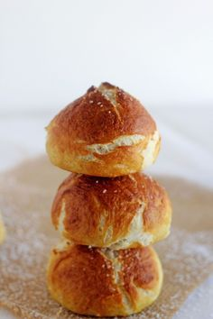 Pretzel Rolls  {Carmel Moments}  Golden brown, soft on the inside, crunchy on the outside.