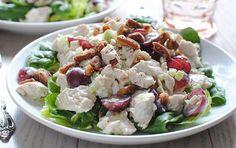 Chicken Salad on Greens:  chicken, mayonnaise, dried cranberries, nuts, celery, onions, salad greens, avocado, honey mustard dressing