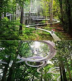 Amazing Forest Park Features Treetop Pathways That Double as Giant Trampolines Amazing Forest Park F Landscape Architecture Design, Futuristic Architecture, Amazing Architecture, Design Jardin, Parking Design, Forest Park, Urban Planning, Pathways, Beautiful Places