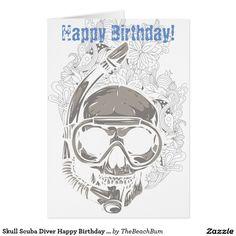 Skull Snorkeling, Scuba Diver Happy Birthday Card