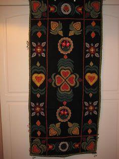 *VEKKI*: Villakirjontaa Wool Embroidery, Scandinavian Home, Rug Hooking, Finland, Winter Time, Textile Art, Folk Art, Bohemian Rug, Textiles