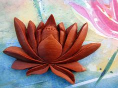 Eternity Lotus Large Carved Sawo Wood Embellishment by Indounik, $15.00.  There's also a darker sono wood version in stock #lotus #carvedwood #scrapbooking #jewelrysupplies