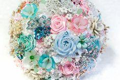 Aqua Blue Pink Wedding Brooch Bouquet. Deposit by Rubybloomscom