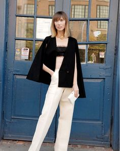 Anya Ziourova shows Man Repeller how to embrace the bra as a top--and Tibi's Quecha Wool Cape as a chic outfit topper. Wool Cape, Man Repeller, Looks Chic, Street Look, Bra Tops, Chic Outfits, Wool Felt, Normcore, Lingerie