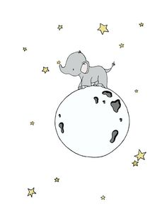 Elephant Nursery Art Print -- Elephant Moon Walk