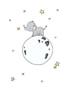 Elephant Nursery Art Print Elephant Moon от SweetMelodyDesigns