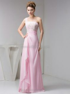A-line One Shoulder Chiffon Floor-length Appliques Prom Dresses