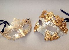 Couple masquerade mask pair Gold Silver Roman by Couples Masquerade Masks, Venetian Masquerade Masks, Masquerade Wedding, Masquerade Ball, Masquerade Party Outfit, Maskerade Outfit, Masquarade Mask, Mask Painting, Cool Masks