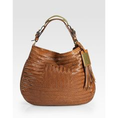 Ralph Lauren Collection Stirrup Handle Large Woven Hobo ($1,500) ❤ liked on Polyvore