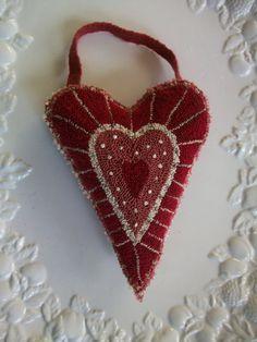 Valentine Heart Primitive Folk Punch Needle by joposie on Etsy, $32.00