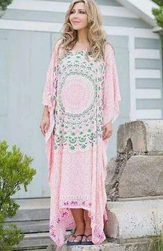 NWT Boho Plus Size  Mandala Kaftan Dress Pink Green Gypsy Bohemian Hippie  FS  in Clothing, Shoes, Accessories, Women's Clothing, Dresses   eBay!