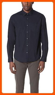 Vince Men's Garment Washed Shirt, Navy, Large - Mens world (*Amazon Partner-Link)