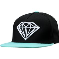 The Diamond Brilliant snapback hat in  black and Diamond blue is a must have hat for anyone living that diamond life. With this hat you're sportin' the world renowned Diamond rock 3D logo embroidered on front in bright white, with a contrasting blue bill, and a custom mini Diamond logo tag on back and adjustable snap closure at back. Keep Shining in the Brilliant snapback from Diamond Supply Co.