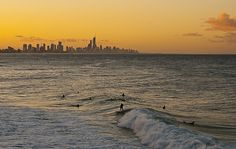 Bliss is... surfing with your mind watching a sunset at Surfer Paradise, Queensland, Australia