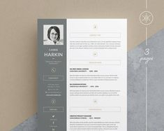 Carrie Resume/CV Template Word Photoshop InDesign Resume Template 3 page Cv Template Word, Resume Design Template, Resume Templates, Cv Cover Letter, Cover Letter Template, Letter Templates, Microsoft Word, Design Typography, Lettering