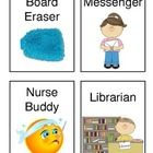 I use these cute little job titles (with pictures!) for my job chart! Kindergarten Classroom Management, Classroom Helpers, Kindergarten Freebies, Classroom Management Strategies, Classroom Jobs, Classroom Setup, Behavior Management, School Job Chart, School Jobs