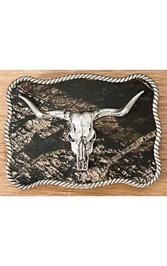 M Western Products® Camo w/ Silver Longhorn Skull Rectangle Buckle | Cavender's Boot City