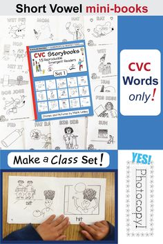 Teach short vowels with these cute mini-books! CVC Storybooks will help you teach consonant-vowel-consonant decoding, blending, segmenting, and word recognition. They will help you teach your students to read. This fully reproducible Teacher's Edition in Phonics Books, Teaching Phonics, Early Literacy, Literacy Centers, Thing 1, Short Vowels, Reading Intervention, Cvc Words, Phonemic Awareness
