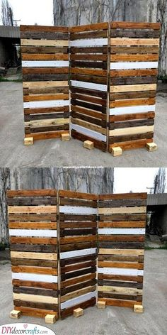 Pallet Wood Plans For House - diypalletideas : old wood pallet room divider idea Wood Pallet Fence, Pallet Room, Wood Pallet Recycling, Pallet Crafts, Diy Pallet Projects, Wooden Pallets, Recycled Wood, Pallet Ideas, Fence Ideas