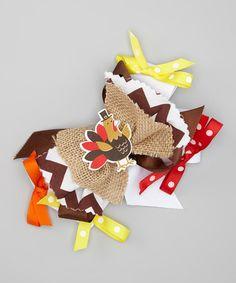 Look what I found on #zulily! Turkey Burlap Bow Clip #zulilyfinds