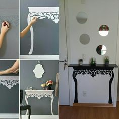 Nice idea for a small space έπιπλα в 2019 г. Diy Home Decor Bedroom, Diy Home Decor On A Budget, Hallway Decorating, Decorating Small Spaces, Muebles Home, Nursery Wall Decals, Wall Sticker, Pinterest Home, Living Room Red