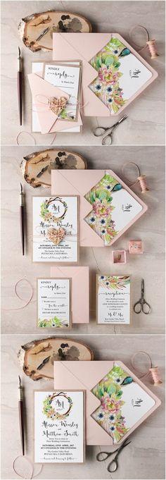Rustic blush pink botanical wedding invitations / http://www.deerpearlflowers.com/rustic-wedding-guest-books-botanical-wedding-invitations/