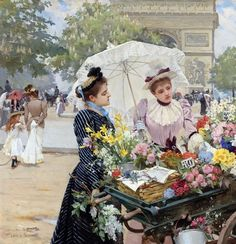 Flowers For Sale, Black And White Aesthetic, Famous Art, Vintage Artwork, Flower Market, French Country Decorating, Belle Epoque, French Vintage, Female Art