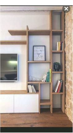 Appartement Paris e : 50 funktionale Living Room Tv Unit Designs, Regal Design, Childrens Beds, Shelf Design, House Rooms, Living Rooms, Floating Shelves, Bookcase, Corner Bar