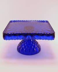 Cobalt Blue Glass Square Pedestal Cake Stand