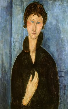 Femme aux yeux bleus - Paris by Amedeo Modigliani Italy) Amedeo Modigliani, Modigliani Paintings, Oil Paintings, Italian Painters, Italian Artist, Oil Painting On Canvas, Painting & Drawing, Woman With Blue Eyes, Oil Painting Reproductions