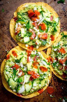 Avocado Hummus and Cucumber Pico de Gallo Tostadas via Mexican Please