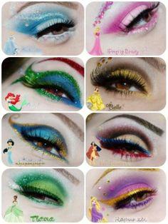 disney makeup looks eye shadows Princess Makeup, inspired by the classics, plus a couple of newbies! Disney Eye Makeup, Disney Inspired Makeup, Ariel Makeup, Disney Princess Makeup, Eye Makeup Art, Cinderella Makeup, Eye Art, Eyeliner Designs, Crazy Makeup