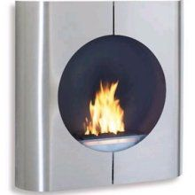 Blomus Round Face Fireplace, Brushed Stainless Steel