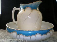 Antique Imperiale et Royale Belgium Nimy Pitcher & Wash Basin/Bowl Blue & White