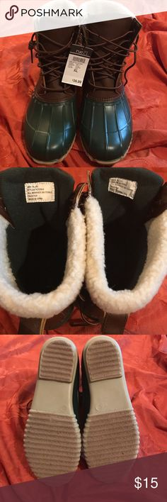 BNWT Size is XL(10) women. Brand new with tags never worn on trend green and brown winter water resistant boots. etc Shoes Winter & Rain Boots