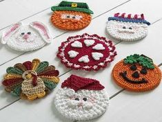 Picture of Holiday CD Coaster Crochet Patterns (to adapt to kids' bookmarks)