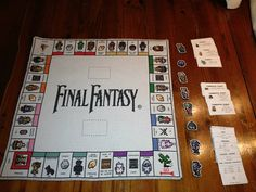 cross-stitched final fantasy monopoly board. i would love to do this for game of thrones!
