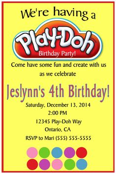 Play Doh Birthday Invitation. Click on the image twice to place orders or follow me on facebook. or email me at the address in BIO.