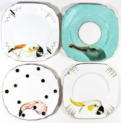 china plate reuse, decals or paint on old plates