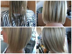 From mid length hair to long Graduated bob